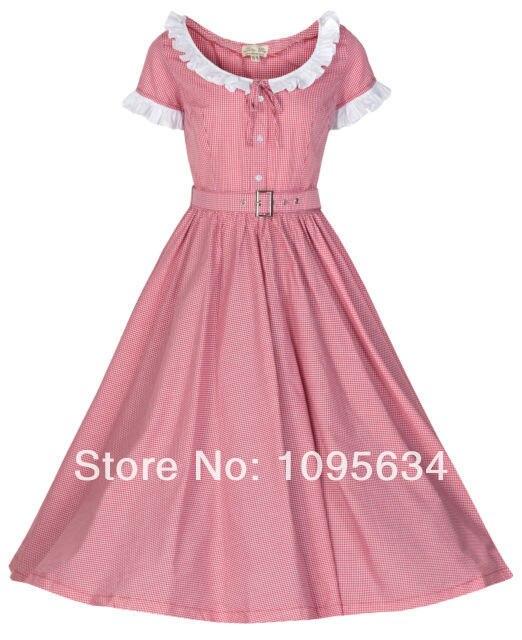 free shipping Ava Vintage 1950\'s Gingham Wadenlanges Kleid Western ...