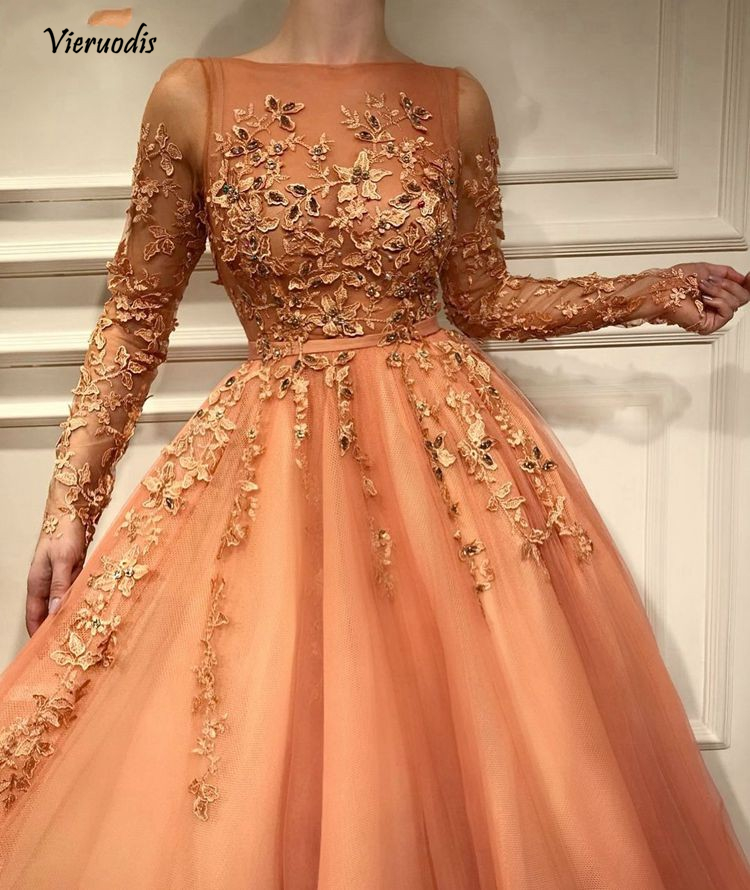 Fashion Pretty Lace Evening Dress With Full Sleeves Abiye Muslim Long A line Prom Gowns Colorful Appliques 1 in Evening Dresses from Weddings Events
