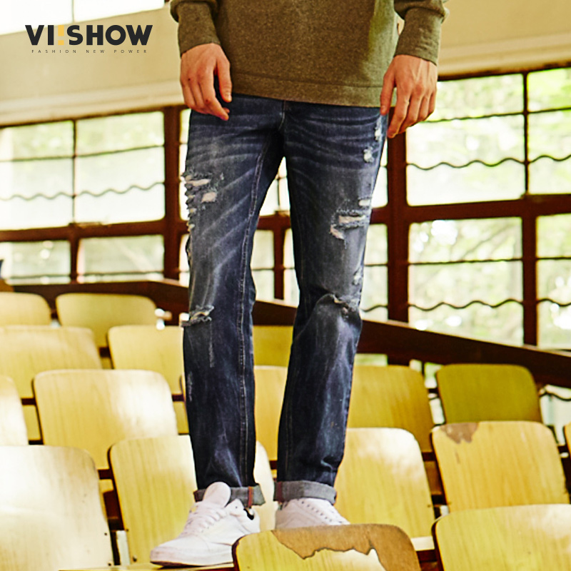 VIISHOW Hi-Street Men Ripped Hole Men Jeans Moustache Effect Streetwear Skateboard Denim Straight Pants Man Hip Hop Jeans Men dsel brand men jeans denim white stripe jeans mens pants buttons blue color fashion street biker jeans men straight ripped jeans
