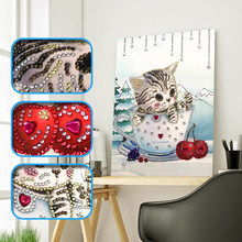 2019 new Special Shaped Diamond Painting DIY 5D Partial Drill Cross Stitch cat Crystal Rhinestone Of Picture Diamond Embroidery(China)