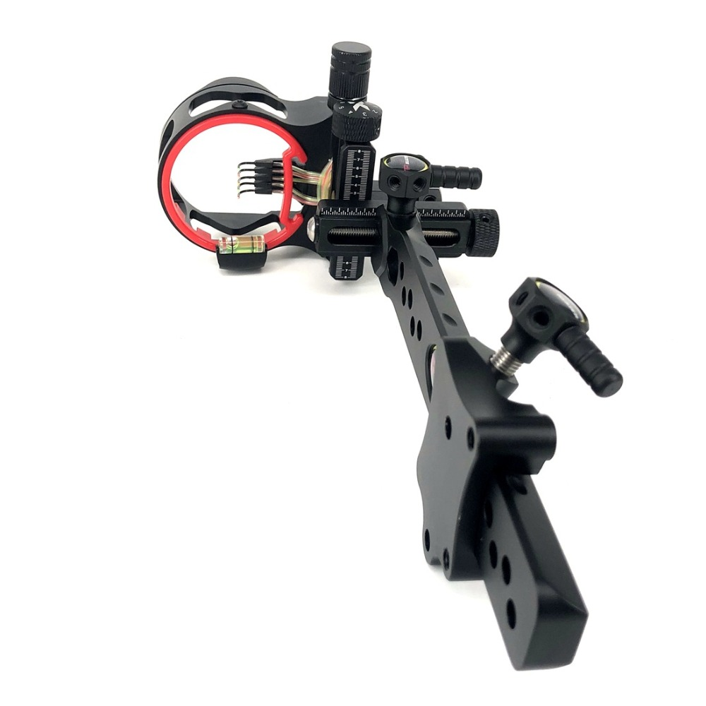 Compound Bow Long Pole Sight 5 Pin Micro Adjustable Archery Sight Hunting Shooting Accessories 1 pin 0 059 bow sight micro adjust long pole for archery hunting recurve bow