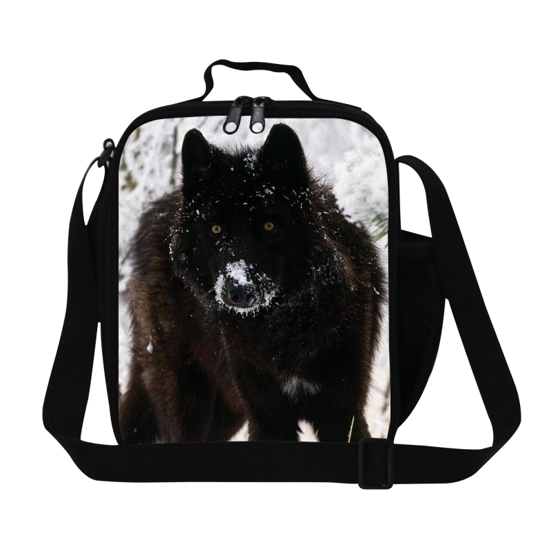 New Arrival Animal Black Wolf Lunch Bags Kids Cross Body Lunch Box Children Gifts Food Bag For Kindergarten Shoulder Bags