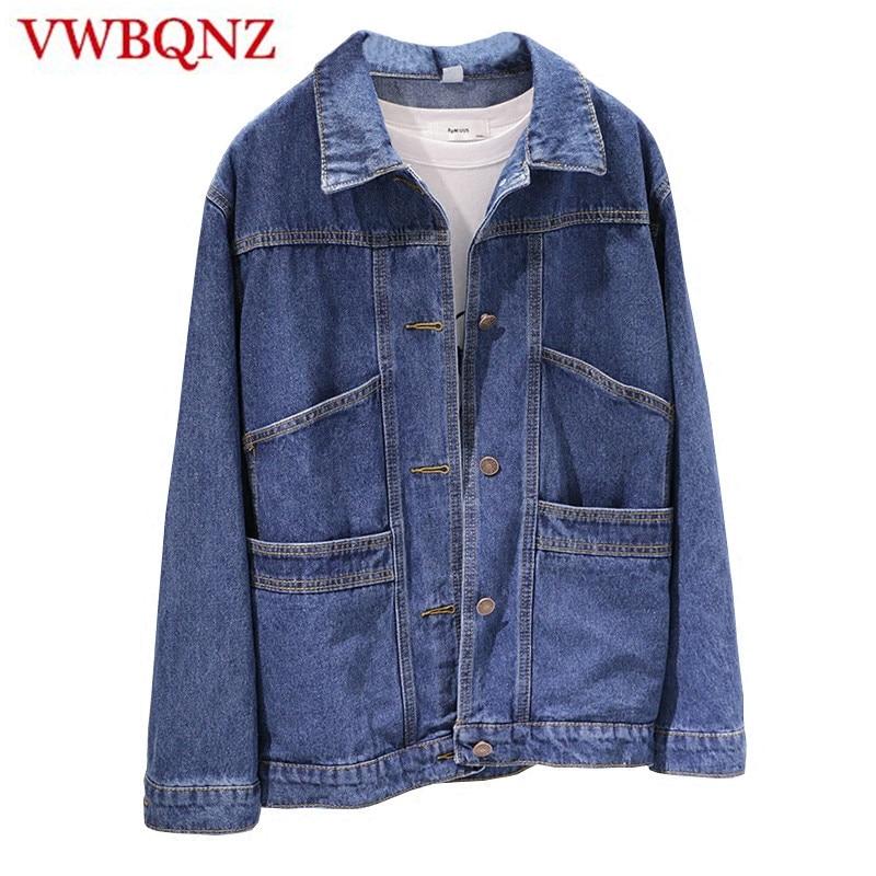 Spring Autumn Women Denim   Jacket   Women   Basic   Coat 2018 Vintage Long Sleeve Pocket Loose Female Jeans Coat Casual Girls Outerwear