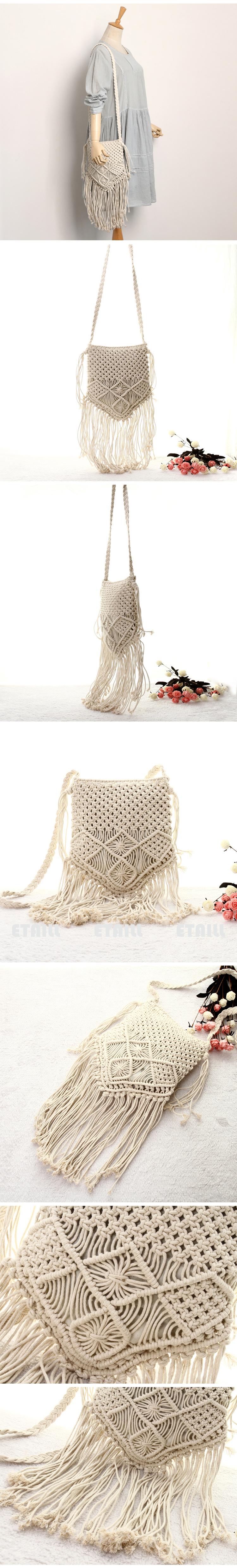 Women Crochet Fringed Messenger Bags Tassels