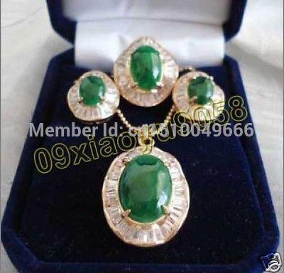 Hot sale FREE SHIP>>>Design elegant green jade inlaid Zircon Necklace Earrings Ring SetHot sale FREE SHIP>>>Design elegant green jade inlaid Zircon Necklace Earrings Ring Set
