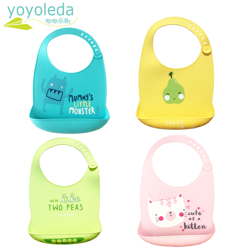 Baby Infant Toddler Waterproof Silicone Bib Infants Leakproof Feeding Lunch Roll-up Apron Dinnerware Accessories Dropshipping