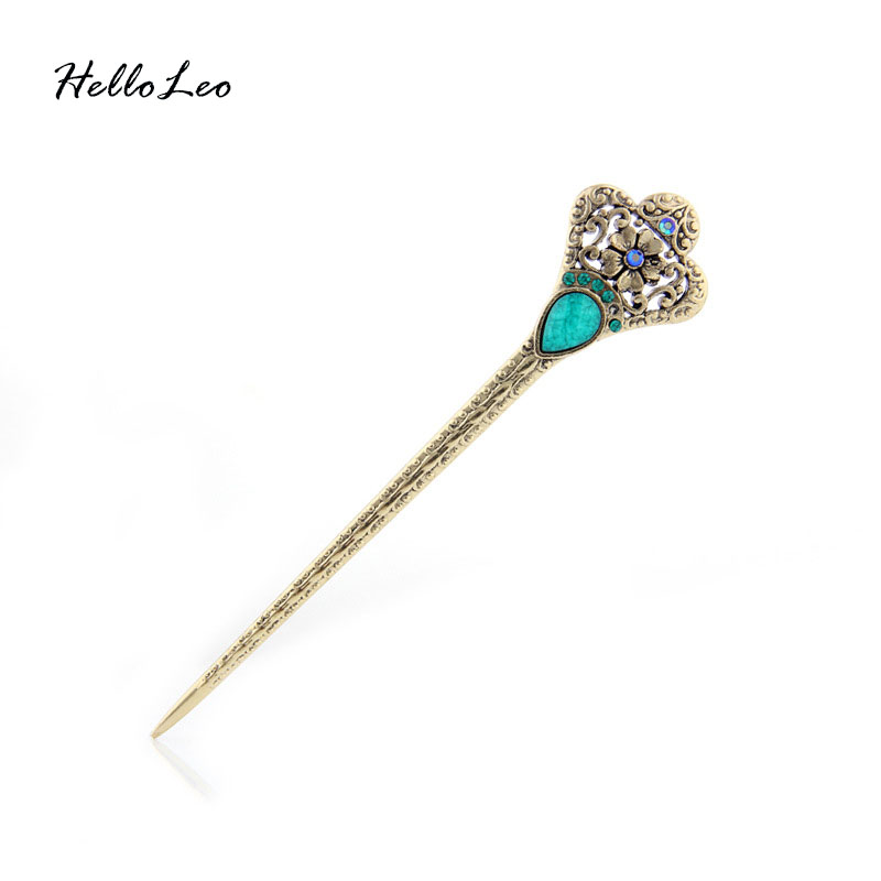 Charming Queens Crown Natural stone double side full of Rhinestone chinese Hair stick Handmade vintage Women jewelry special
