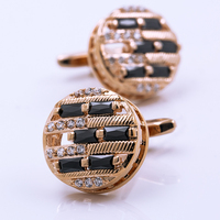 KFLK jewelry brand men's shirt cuff button round rose gold cufflinks for wedding gift button 2017 new products free shipping