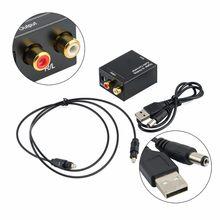 Digital ao sinal coaxial de toslink da fibra ótica do conversor de áudio analógico para o amplificador de rca r/l do decodificador de áudio spdif atv dac