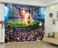 Football World Cup Window Blackout 3D Curtains Set For Bed Room Living Room Office Hotel Home