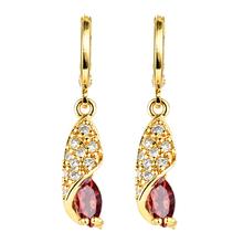 Women Gold Color Drop Earrings Red Purple Pink CZ Dangle Drop Earrings Jewelry cheap Meftuna Jewelry Copper XEG135 SPIKE TRENDY Fashion Cubic Zirconia