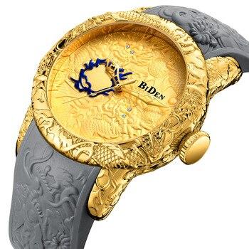 43cdef8bd118 Hombre relojes de oro negro impermeable BIDEN 2018 nuevos mens relojes  cuarzo silicona moda diamante escultura Movimiento Ciudadano