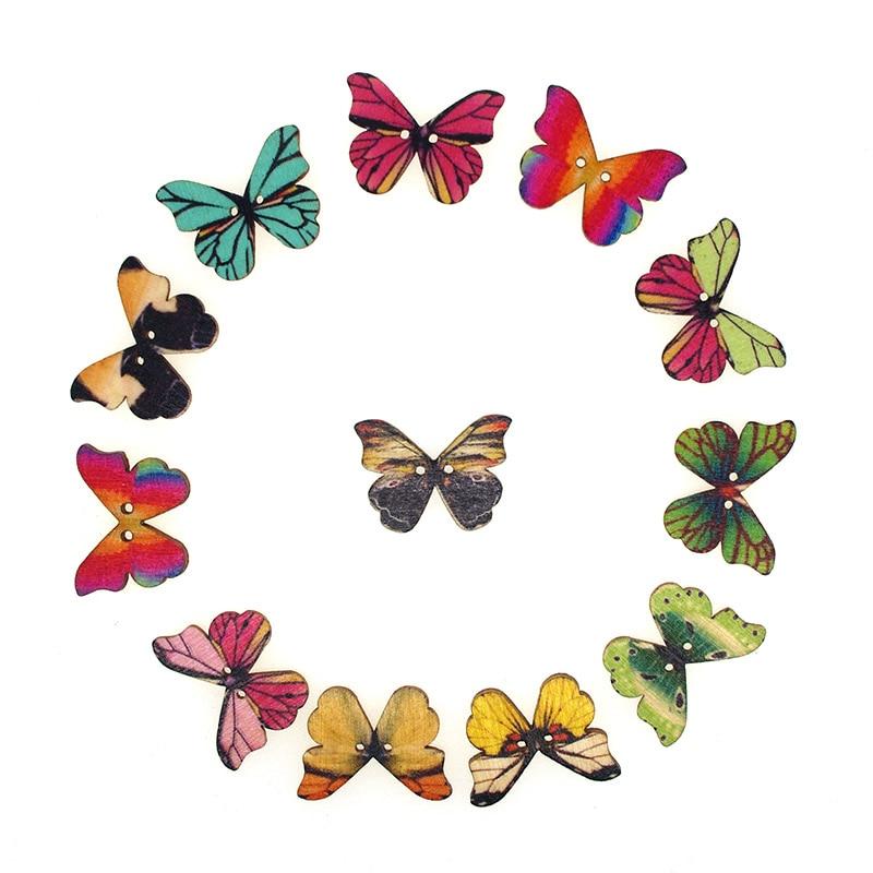 ①Brillo 30 unids madera Costura Botones mariposa de scrapbooking ...