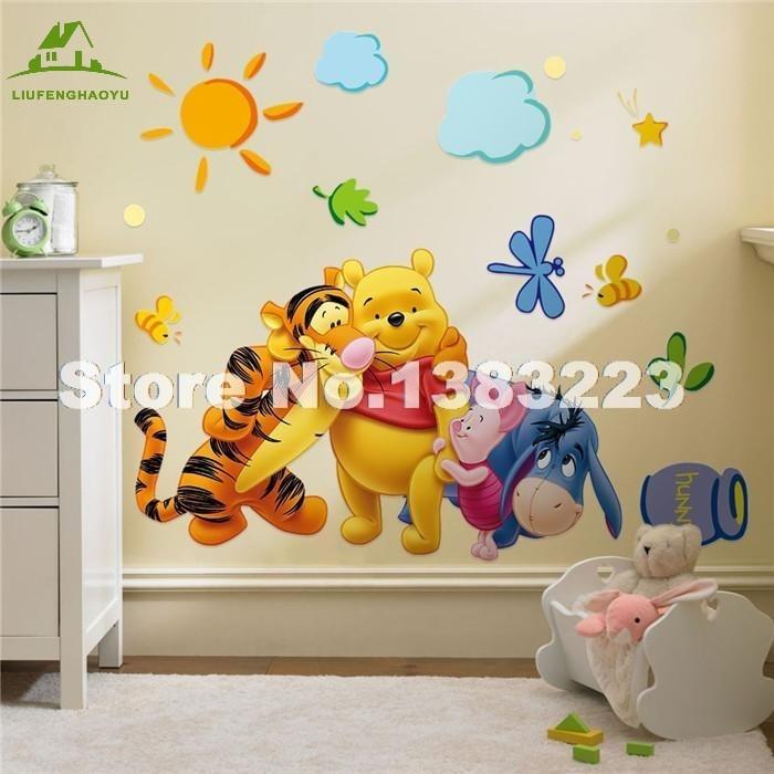 Baby Bear Cartoon Diy Wallpaper For Kids Rooms Sofa Bedroom House Decoration Art Decals Design 3d Home Decor Vinyl Wall Stickers
