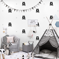 Nordic Cartoon Bear Pure Paper Children Room Wall Paper Home Decor Kids Boys Bedroom Living Room Wallpapers for Walls