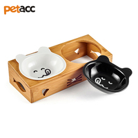 Petacc Bamboo Stand Elevated High quality Pet Bowl Double Dog Bowls Ceramic Cat Water Bowl Tilted Pet Food Feeder