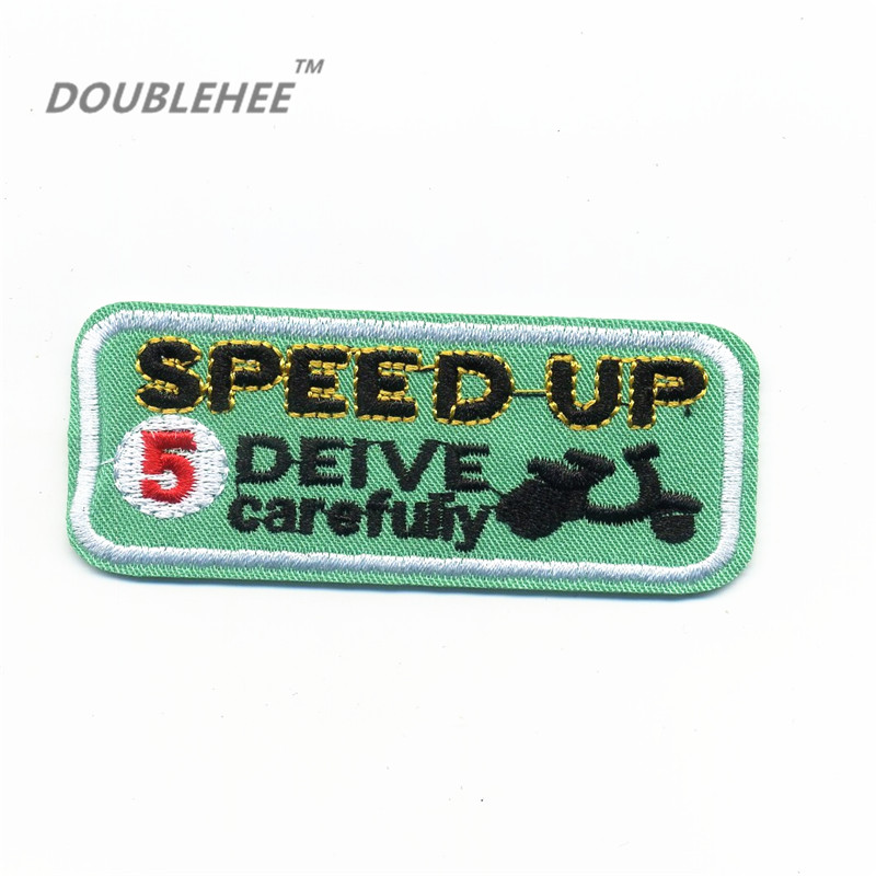 DOUBLEHEE 6cm 4 2cm Embroidered Iron On Patches Letters Motor Game Speed up Square badge Delicate Embroidery Patch Badges in Patches from Home Garden