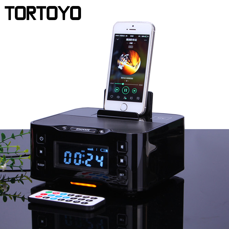 A9 Portable Wireless Bluetooth Speaker NFC FM Radio Alarm Clock 8 Pin Micro Charger Dock Station