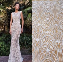 1 Yard shiny Sequins lace fabric with sequins embroidery lace! 2019 NEW European designer hot IVORY wedding dress fabric!