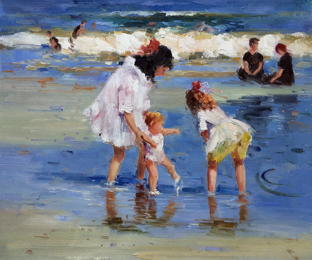 No Framed Landscape Art Children Playing at the Seashore Edward Potthast Wall Painting on Canvas Impressionist Portrait Art