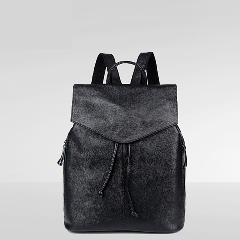ФОТО Genuine Leather women backpack 2016  fashion Knitting and Rivets backpacks for teenage girls black casual travel school backpac