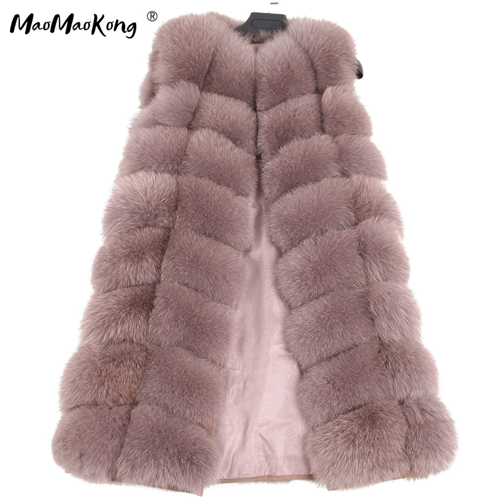 maomaokong 100% Fox Fur Vest Women Real Natural Whole Fox Fur Coat 90CM Long Winter Fur Jacket Waistcoat Plus Size 4XLReal Fur   -