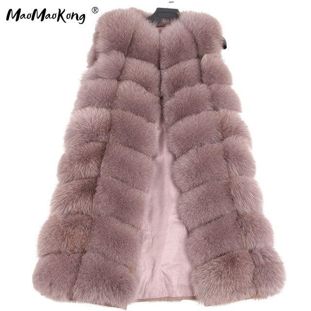 maomaokong 100% Fox Fur Vest Women Real Natural Whole Fox Fur Coat 90CM Long Winter Fur Jacket Waistcoat Plus Size 4XL