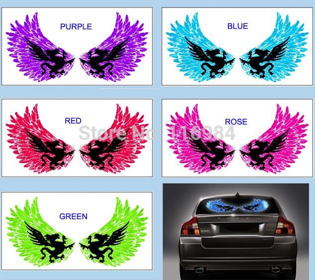60x30CM Wings Car Sticker Music Rhythm LED Flash Light Lamp Sound Equalizer
