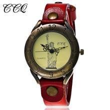 CCQ Luxurious Classic Cow Leather-based Bracelet Wrist Watch Ladies The Statue Of Liberty Quartz Watch Informal Watch Relogio Feminino C79