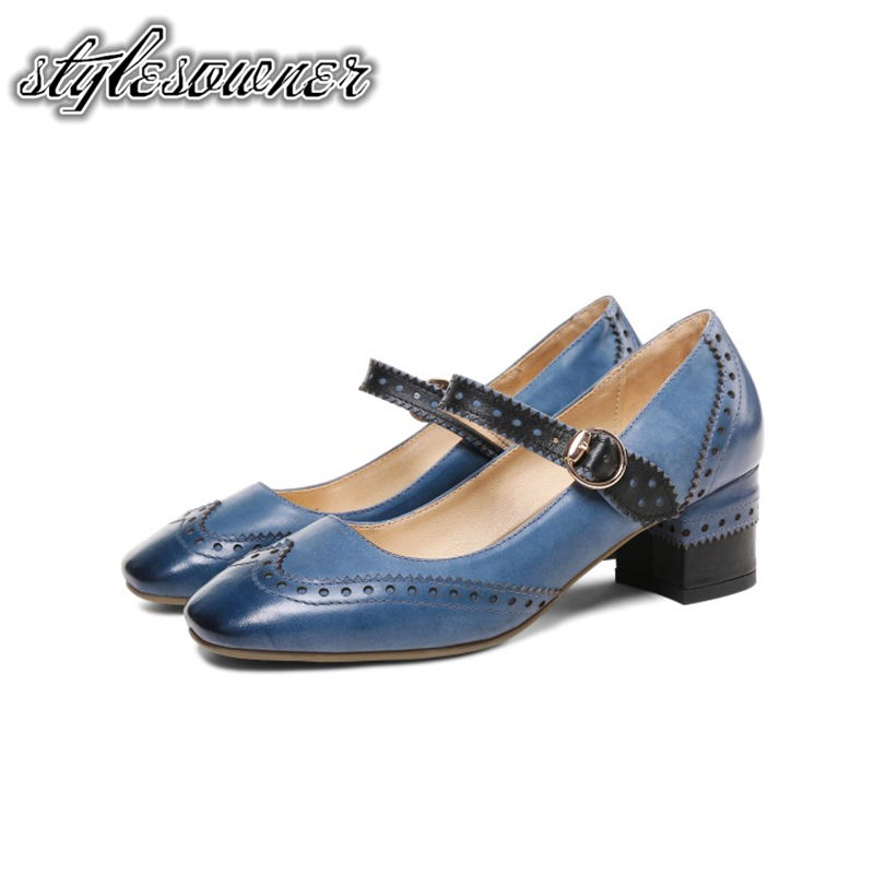 Talons Simples Vache Mary Boucle Stylesowner Hauts Véritable Chaussures En Neutre Blue 5 camel Sangle Cm Janes Cuir 2018 Rétro Épais white 0XX1qpv