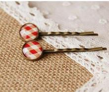 Fashion Urban Youth Scottish Tartan red white glass cabochon print hair clips for girls Simple copper hair accessory women hand