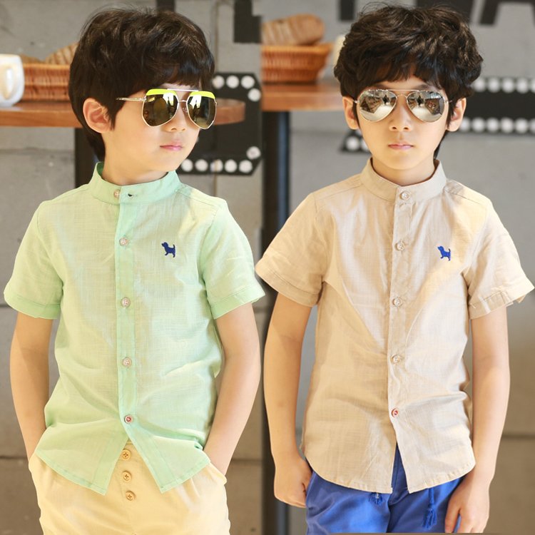 School Girl Blouse Boys Shirts Polo Infantil Child Short-sleeve Shirt Male Baby 2016 Summer Fluid Stand Collar Ready In Stock