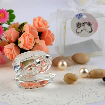 10pcs Lovely Crystal Shell Ring Ornaments Furnishing Articles For Wedding Baby Shower Party Birthday Favor Gift Souvenirs