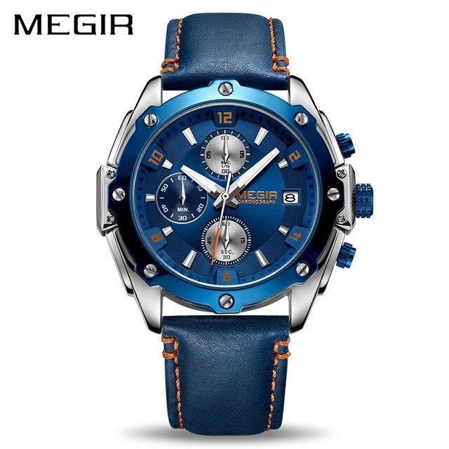 Relojes MEGIR Men Watch Male Leather Automatic date Quartz Watches Mens Luxury Brand Waterproof Sport Clock Relogio Masculino цена 2017