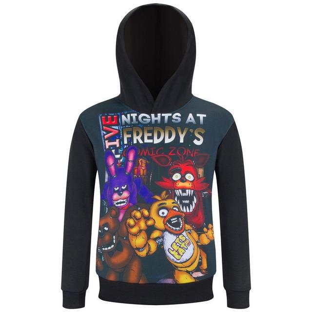 Дети спортивная одежда детская Пять Ночей в Freddys топ мальчиков одежда новорожденных девочек осень весна Мультфильм Толстовки Свитер