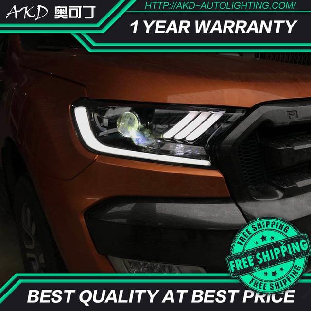 Akd Tuning Cars Headlight For Ford Ranger Everest Mustang Type Headlights Led Drl Running Lights Bi Xenon Beam Fog Angel