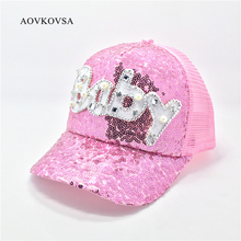 AOVKOVSA 2017 Gorras Fashion Casual Casquette Children Girls Baseball Cap Pearl Diamond Sequins Baby Snapback Caps Hats