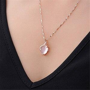 Браслет с сердцем из опала, ожерелье с подвеской из розового золота с белыми кристаллами