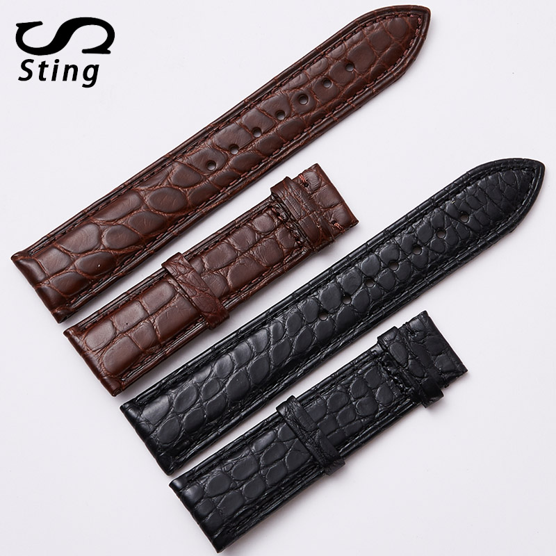 Sting Strap Men's And Women's Crocodile Leather Strap Universal Waterproof Watchstrap Round Black Crocodile Skin Watchband crocodile skin pattern cow leather wristwatch strap watchband black size 20l