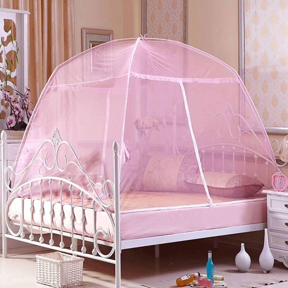 Canopy bed curtains for girls - 1set Folding Portable Mongolia Mosquito Net Mesh Insect Bed Canopy Curtain Elegant Dome Tent For Girl