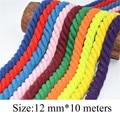 100% хлопок, 10 метров, 3 перекрученные хлопковые шнуры, 12 мм, декоративная веревка для рукоделия, хлопковый шнур для сумки, ремень на шнурке, 20 ц...