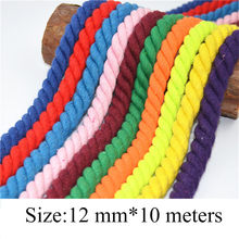 100% Cotton 10Meters 3 Shares Twisted Cotton Cords 12mm DIY Craft Decoration Rope Cotton Cord for Bag Drawstring Belt 20 Colors
