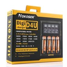 Slot de Lcd Inteligente para Lifepo4 100% Brand Novidade Nokoser D4u 4 Carregador de Bateria Nimh Nicd Aa e aaa Li-ion 22650 e 18650 e 18490 e 17500 e 18350