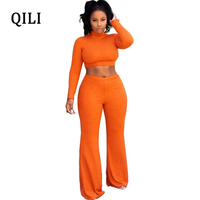 e0d821bdfd8 QILI Pit Striped Two Piece Set Jumpsuits Women Long Sleeve Wide Leg  Jumpsuit Short Top+Pants 2 Piece Casual Jumpsuits Autumn
