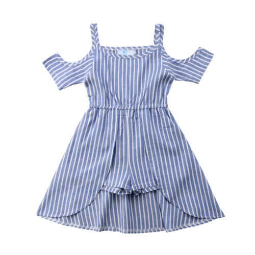 Pudcoco Lovely Kids Baby Girls Striped Off Shoulder   Romper   Dress Outfits Clothes