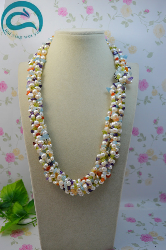 Unique Pearls jewellery Store AA 5 8MM Multicolor Gemstone Natural White Freshwater Pearl Necklace Woman Fine Jewelry