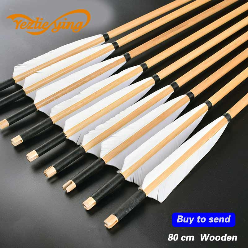 12PK 28-33INCH Length 5/'/' feathers wooden arrow for longbow hunting/&shooting