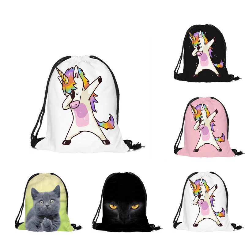 2018 New Cute Kid Baby Unicorn Pattern Sport Bags Swimming Bags Gym Pump Bag Sports School Drawstring Boy Girl Backpack Hot Sale