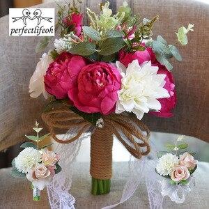 Image 5 - Nhân tạo Bó Hoa Cưới Cho Cô Dâu Bên Ngoài Ren Hoa Cưới Trâm Bó Hoa Bó Hoa De Mariage