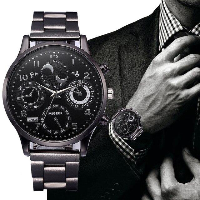 2019 New Business Men Watches Crystal Stainless Steel Bracelet Analog Quartz Wrist Watch relogios masculino Clock#TY